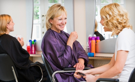 Haircut and Style or Haircut, Style, and Partial Highlights at Hair Geometrics (Up to 51% Off)