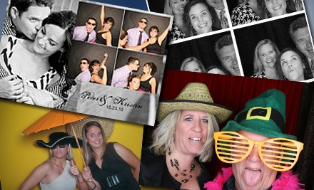 Four-Hour Photo-Booth Rental with Delivery or Four-Hour Photo-Booth Rental with Projector, Screen, and Delivery from FlickerBooth (Up to 52% Off)